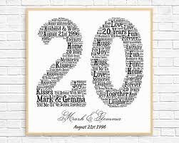 20th wedding anniversary gift ideas personalized 20th anniversary gift word printable