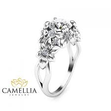 design an engagement ring floral design diamond engagement ring 14k white gold flower ring