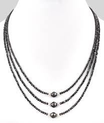 necklace with black diamonds images Black diamond necklaces three strand 2mm black diamond beads jpg