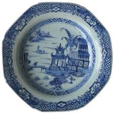 canton porcelain late 18th c export soup plate canton blue and white