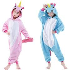 costume for kids blue and pink unicorn kigurumis children