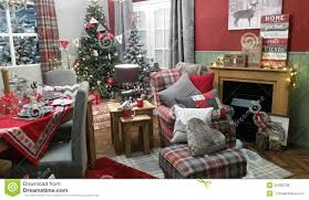 christmas cosy winter living room decoration setting stock photo