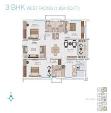 3bhk House Plans West Facing House Plan