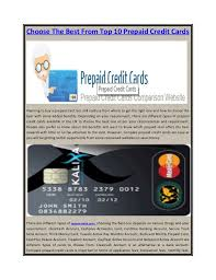 prepaid credit card choose the best from top 10 prepaid credit cards