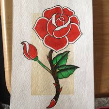traditional tattoo style rose painting by borrowed bones on deviantart