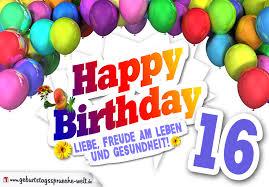 16 geburtstag sprüche lustig bunte geburtstagskarte mit ballons zum 16 geburtstag