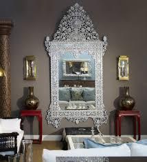 moroccan style white framed floor mirrors for living room