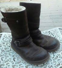 s ugg australia black grandle boots ugg australia grandle leather buckle shearling boots chestnut us 7