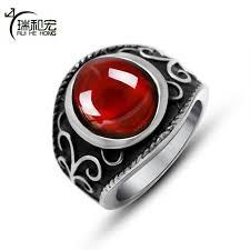 black magic rings images Royal magic red garnet ring vintage black titanium steel sculpture jpg