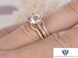 curved wedding band 6 5mm cut moissanite engagement ring set curved