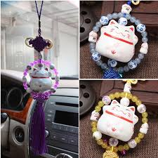 car accessories lucky cat ornaments car safety ceramic lucky