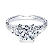 gold cushion cut engagement rings 14k white gold diamond 3 cushion cut and pave band 14k white