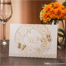 wedding invitations gold and white gold white wedding invitations 2017 laser cutting flower