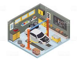 building a workshop garage modern isometric car workshop garage interior design stock vector