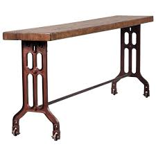 Iron Console Table Long American Made Industrial Reclaimed Oak Console Table With
