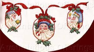 whimsical alma lynne folk santa cross stitch tree skirt kit
