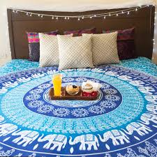 Tapestry On Bedroom Wall Amazon Com Hippie Elephant Mandala Tapestry Wall Hanging Blue