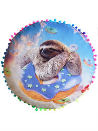 sloth print round home decorative pillow cover colormix diameter sloth print round home decorative pillow cover colormix diameter 45cm