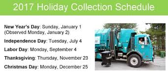 city trash collection delayed one day for thanksgiving