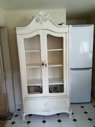 laura ashley shabby chic armoire ivory display cabinet in