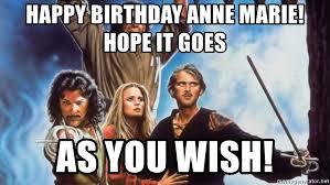 Anne Meme - happy birthday anne marie hope it goes as you wish princess