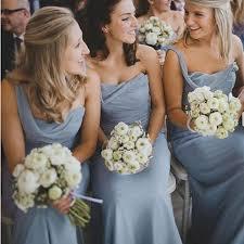one shoulder dusty blue long a line chiffon bridesmaid dresses