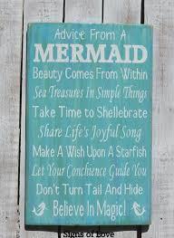 Bathroom Quotes For Walls Original Advice From A Mermaid Wood Beach Sign Mermaid Wall Art