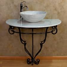 wrought iron console vanity for vessel sink marble top bathroom