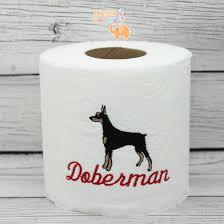 dog toilet paper holder doberman pinscher embroidered toilet paper dog lover gift dog