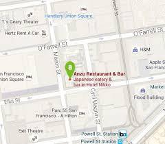San Francisco Restaurant Near Union Square   ANZU at Hotel Nikko  Location of Anzu Restaurant  amp  Bar  San Francisco