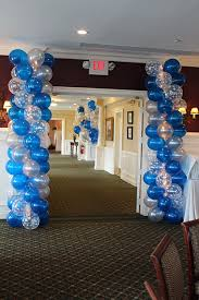 Columns For Party Decorations Sweet 16 Blue Ombre Balloon Columns Balloon Columns Pinterest