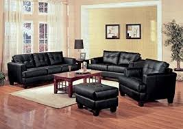 couch and ottoman set amazon com 4 pcs black classic leather sofa loveseat chair and