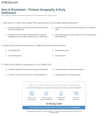 quiz u0026 worksheet chinese geography u0026 early settlement study com