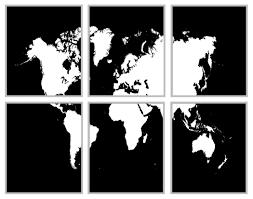 carte monde noir et blanc monde carte noir et blanc 6 panneau carte 11 x 14