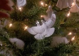 set of 2 turtle dove ornaments as seen in home alone 2 by home