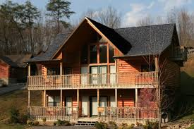 artistic log cabin exterior ideas using wooden deck handrails with