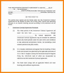 investment contract agreement simple investment contract