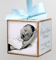 personalized baby block ornament personalized hanging photo baby block birth announcement