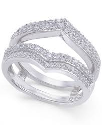 diamond double rings images Diamond double v solitaire enhancer ring guard 1 2 ct t w in tif