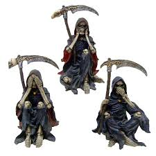 3 wise grim reaper figurines ornaments horror gift