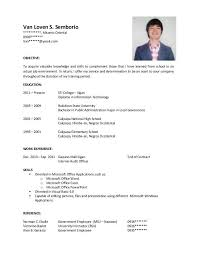Computer Science Sample Resume by Sample Resume For Ojt Students Best Resume Collection