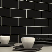 Black Subway Tile Kitchen Backsplash Black Subway Tile Black Gl Tiles Black Tile Kitchen Backsplash