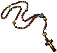 catholic rosary necklace catholic brown wooden cord rosary necklace prayer cross 25