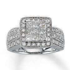 Jareds Wedding Rings by Kay Diamond Ring 1 Ct Tw Princess Cut 14k White Gold