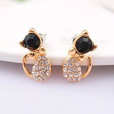 cat stud earrings rhinestone cat stud earrings kool cat stuff