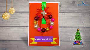 how to make a beautiful christmas card with a wreath diy crafts