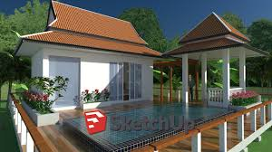 sketchup exterior house design with pool speed video youtube