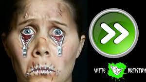 halloween zipper face makeup tutorial with 3rd degree scars