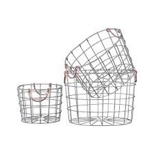 baskets home decor home furniture diy urban trends metal round nesting wire basket w two handles set of 3 silver