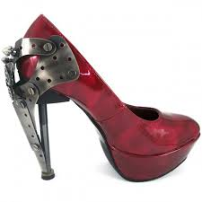 gothic red platform womens shoe with steampunnk butterfly heel